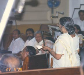 K. R. Gouri addressing the Assembly in 1998